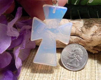 """2"""" Opalite Cross Pendant Necklace Bead Agate Jewelry Crafts Supplies DIY Sale Healing Stone"""