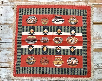 Southwestern style tablecloth with crochet trim / Native American style pottery / earth tones / boho style