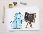 Blue Elephant - Greeting Card with envelope - Postcard - School