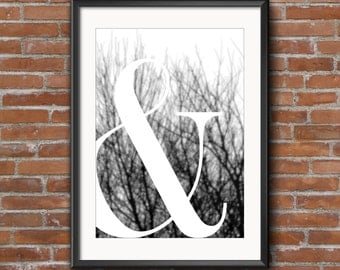 Typography Print Ampersand Printable Art Downloadable Print