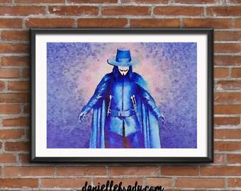 V for Vendetta Digital Art Watercolour Printable Art Downloadable Print
