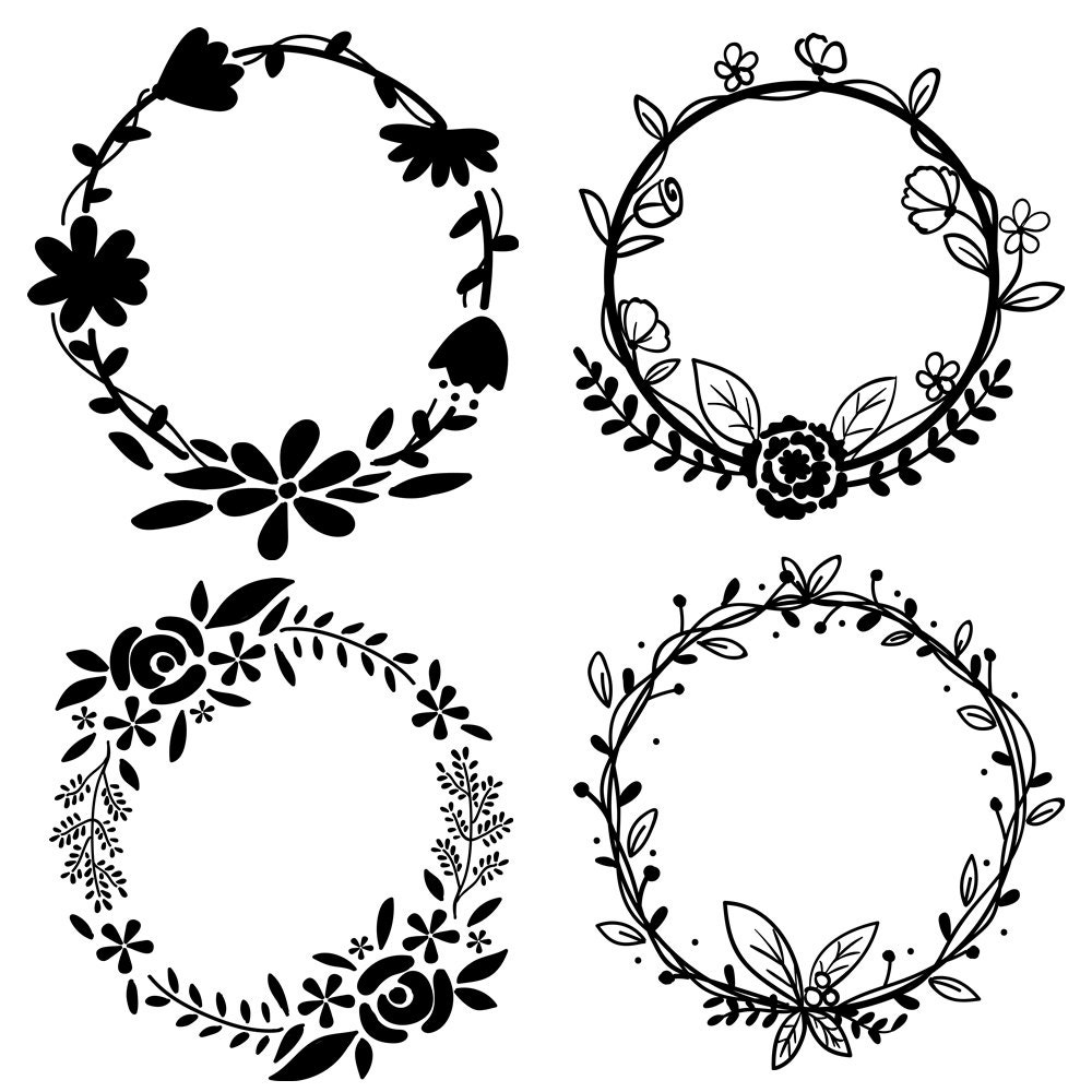 Floral Wreath Clipart Set In Gold Black & White INSTANT
