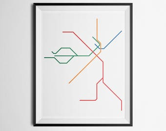 Transit Map of Boston, Massachusetts MBTA Train Map Minimalist Print