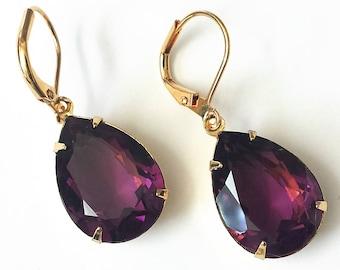 Swarovski Amethyst Crystal Earrings Swarovski Crystal Jewelry Wedding Bridesmaid Jewelry Amethyst Crystal Jewelry Gold Drop Earrings