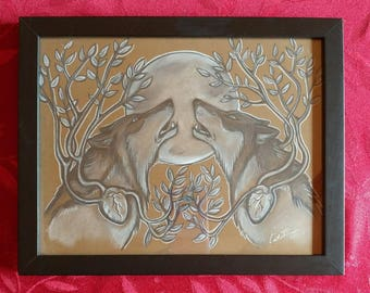 Original art. Two Wolves, Two Hearts. Charcoal on brown paper. Framed art. 12x9.75 inches. Wolf art.