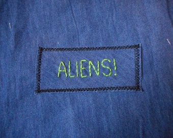 ALIENS! small hand embroidered rectangular sew on patch green lettering on denim free shipping one of a kind patches