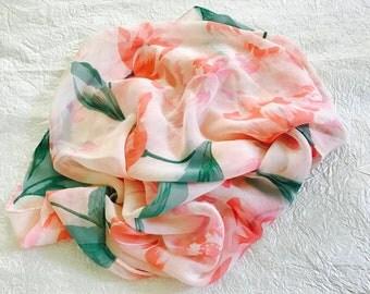 Pink Tulips Sheer Silk Chiffon Long Scarf