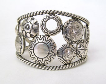 Sterling Silver Concho Cuff Bracelet, Native American Jewelry, Big Bold Unique Heavy Sterling Silver Cuff, Vintage Southwest Concho Jewelry