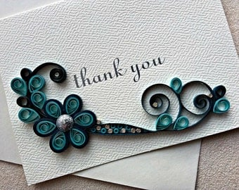 handmade paper quilled thank you card