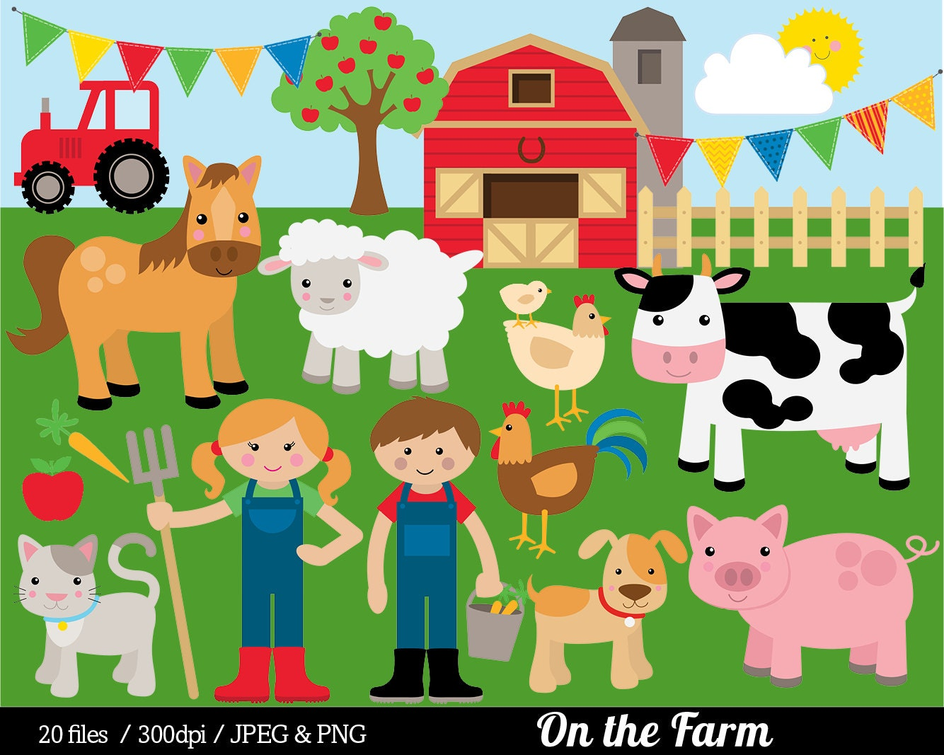 Farm Animal Clipart Farmyard Clip Art Barn Farmer Horse Cow