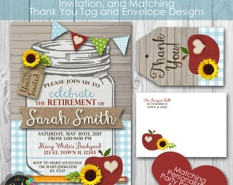 Teacher Retirement or Graduation Personalized Printable Invitation, and Thank You Note, Envelopes, Banner and Welcome Sign