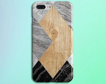 Dark Marble x Light Wood Geometric Phone Case, iPhone 7, iPhone 7 Plus, Protective iPhone Case, Galaxy s8, Samsung Galaxy Case, CASE ESCAPE