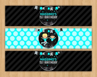 Dance Party Printable Water Bottle Labels - Aqua, Silver and Black