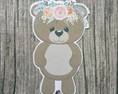 Bear with Floral Headband Die Cuts | Teddy Bear Die Cuts | Cute Die Cuts | Cute Bear Die Cut | Planner Die Cuts |  |TN | Travelers Notebook