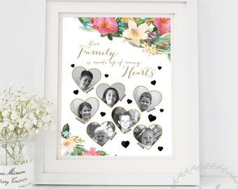 Personalised Mothers Day Gift for Grandmother Gift Nana Grandma Gift from Grandchildren / Dates Names / Our Family Is Made Up Of Many Hearts