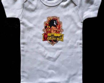 Gryffinpuff Cross-House Crest Baby Onesie