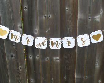 WEDDING - Mr and Mrs Banner - Wedding Sign - Wedding Banner - Wedding Decorations