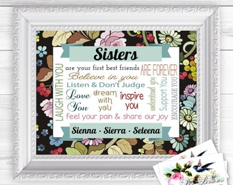 "Personalized / Custom Gift Siblings, Sister, Sisters, Wall Art Sign  8x10"" Any Names, Printed, Family (Version 2)"