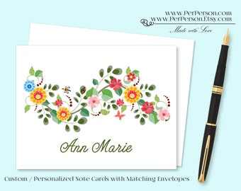 Free Ship!  Set of 12 Personalized / Custom Notecards, Boxed, Blank Inside, Floral, Banner, Flowers, Yellow, Orange, Blue, Monogram, Name