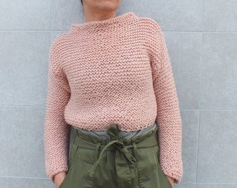 Pastel cropped sweater,Long sleeve sweater,Sweater shrug, teen sweater, short sweater, peach sweater