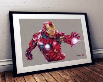Iron Man -  The Avengers  - Illustrated Giclee Print