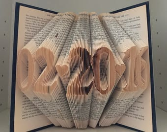 Any date Folded book art (4/5 or 6 numbers)-Unique folded book art custom made with a word of your choice- see item details section for info