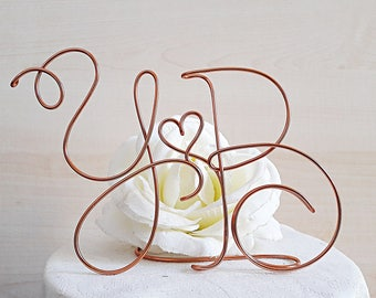 Wedding initials cake topper, personalized wedding cake, anniversary topper, wire cake topper