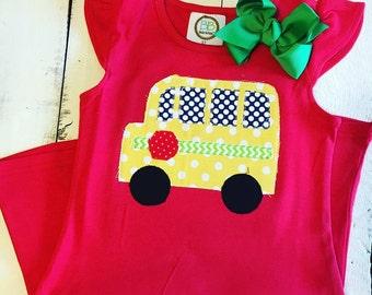 School Bus DRESS Applique
