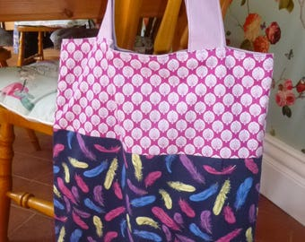 Large lined tote/shopping bag with indian and feather detailed fabric