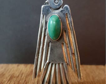 Vintage Sterling Silver with Turquoise Thunderbird Pendant Fred Harvey Era  Peyote Eagle