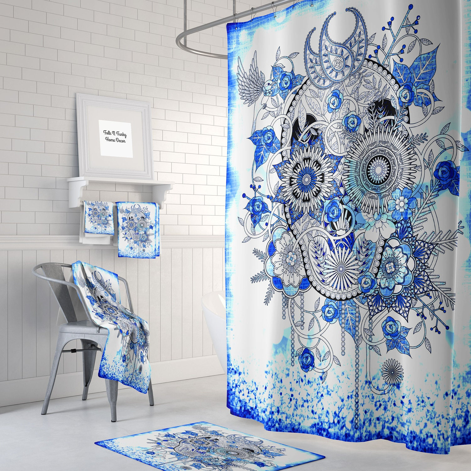 Sugar skull shower curtain day of the dead soft true for True blue bathrooms