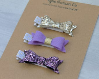 hair clip set, purple and gold petite hair bow clip (set of 3), baby hair clips