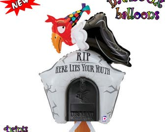 Birthday Party Large Balloon/Funny Over The Hill Outdoor Decoration Balloon For The Mailbox/Funny Outdoor Buzzard On Gravestone Party Sign