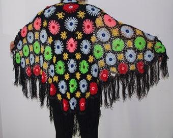 Multicolour crochet shawl Boho Tringle Scarf Vintage Wrap Hand knit shawl Fringe shawl, granny shawl, crochet wrap, crochet cape, lace shawl