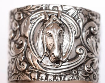 Amazing antique sterling silver cuff with horse