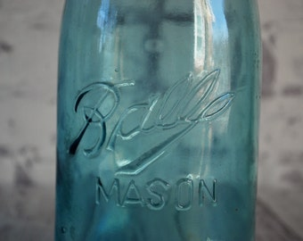 "Triple L or Three L Ball Mason Jar Mold Run #4, 1896-1910, Zinc Lid, Aqua Blue, Quart Size, Mismatched Seams, Neck Seams, 7"" Tall"