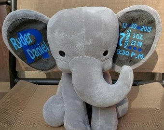 Personalized Birth Announcement, Stuffed Elephant, Personalized Stuffed Elephant