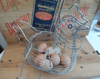 Original 1960's/1970's French Chromed Wire Large Size Chicken Hen Egg Holder Egg carrier