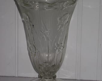"Footed 9 inch ""Iris & Herringbone"" crystal vase from the Jeanette Glass Co. in very good condition,likely manufactured in the early 1930's."