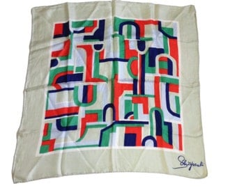 "Schiaparelli Mod 1960s Abstract Patterned Silk Scarf - 26.5"" by 26.5"""