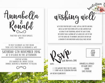 Digital Wedding Invitation RUSTIC Annabelle wedding invitation design. Modern & Simple clean design