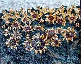 Cheerful Sunflower Field Mosaic