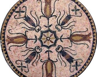 Floral Mosaic Art Rondure - Cher Roses