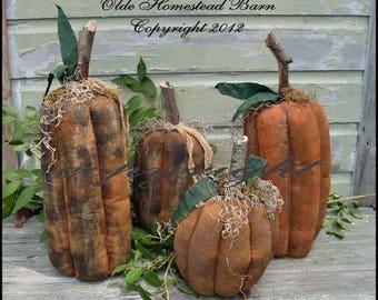 Primitive Tall Grungy Pumpkins EPATTERN