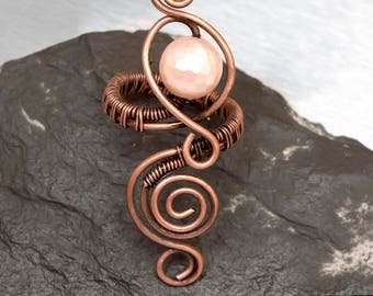 Rose pink shell pearl Wire wrapped Antique copper  adjustable ring ,copper ring, wire wrapped copper ring .