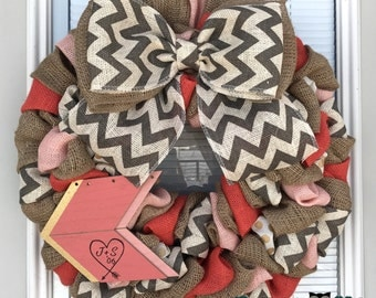 Valentine Wreath - Coral, Natual and White/Gray Chevron-  Home Decor  - Valentine burlap Wreath - Burlap Wreath - Door Wreath - Love wreath