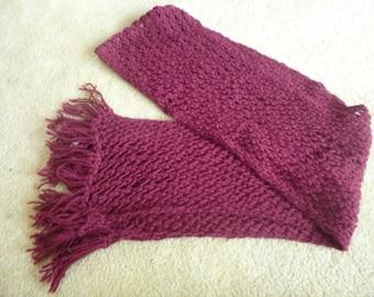 Magenta hand knitted alpaca scarf, made in Peru
