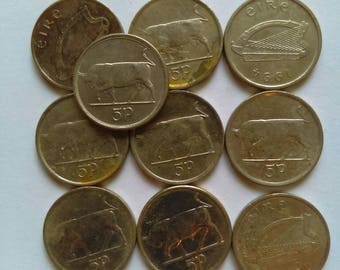 5p irish vintage coins (10 coins per pack) 1990 onwards