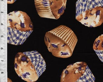"Kanvas ""Bake Sale"" Blueberry Muffins Scattered on Black Fabric"