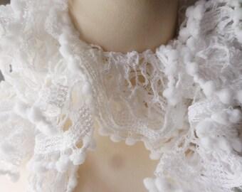 Lacy ruffle scarf, pure white colour,   long boa style, bobble edging, evening  scarf, summer wrap, fashion boa scarf, hand crochet,